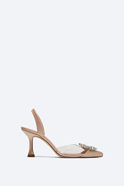 Uterqüe Arkası Bantlı Parlak Taşlı Vinil Ayakkabı