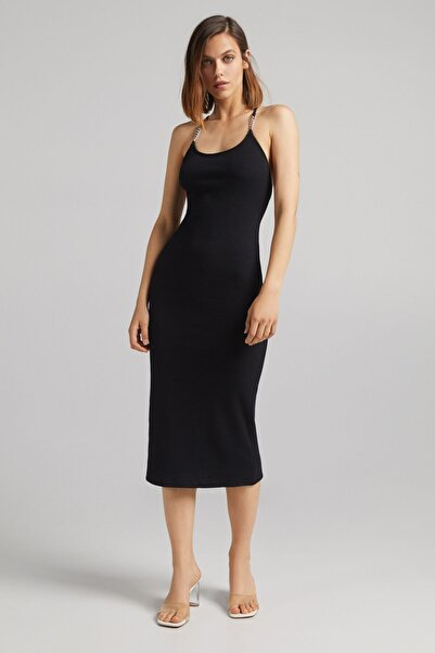 Bershka Zincirli Midi Elbise