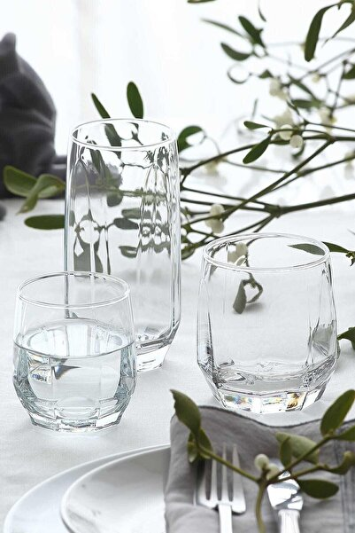 LAV Diamond 36 Parça Bardak Seti - Su Bardağı Seti Takımı Nar 50