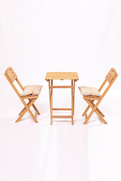 Meya Dekor Minderli Balkon Bahçe Mutfak 3'lü Bistro Set Katlanır 2 Sandalye 1 Masa