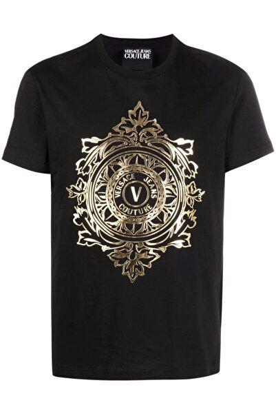 Versace Ra Gold Logo Baskı Jeans Couture T-shirt