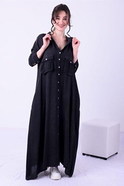 1Moda1Tarz Kadın Dokuma Kumaş Gömlek Yaka Cepli Uzun Kollu Önden Bilek Kısmına Kadar Düğmeli Yıkamalı Elbise