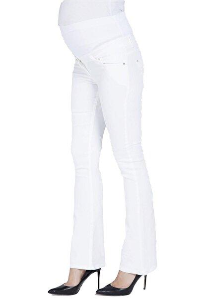 FİERTE Kadın Pantolon Hamile Pamuk Elastik Bel Cep İspanyol Paça Beyaz