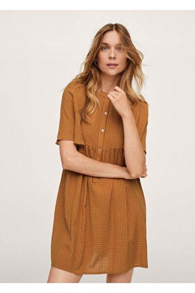 MANGO Woman Kadın Yanık Turuncu Desenli Modal Elbise