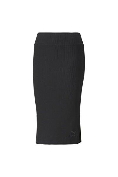 Puma Classics Ribbed Midi Skirt Kadın Siyah Etek - 53161801