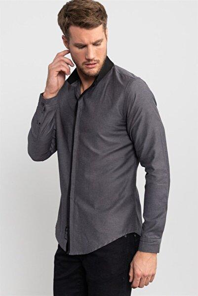 Tudors Slim Fit Siyah Detaylı Gri Erkek Gömlek