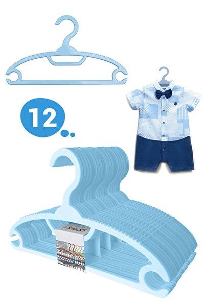 Morpanya Bebek Elbise Askısı Bebek Çocuk Giysi Kıyafet Askısı 12 Adet Gondol Mavi Askı