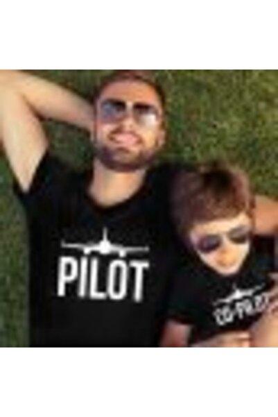 HediyeMania Baba Oğul Pamuklu Tişört Kombini Pilot Co-pilot Siyah T-shirt 2li Tshirt Takımı 1. Kalite