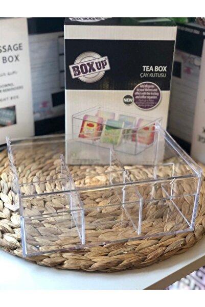 Eviniz İçin Herşey Kapaklı Şeffaf 6 Bölmeli Çay Kutusu Takı Kutusu Toka Kutusu Düzenleyici