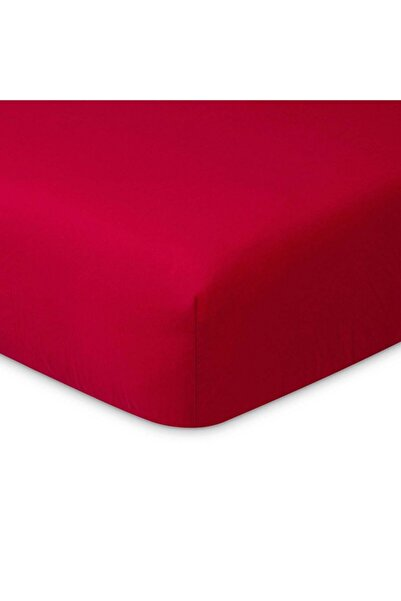 Maki %100 Pamuklu Ranforce Lastikli Çarşaf 200x200 (32 Cm Derin Flaplı) , Kırmızı