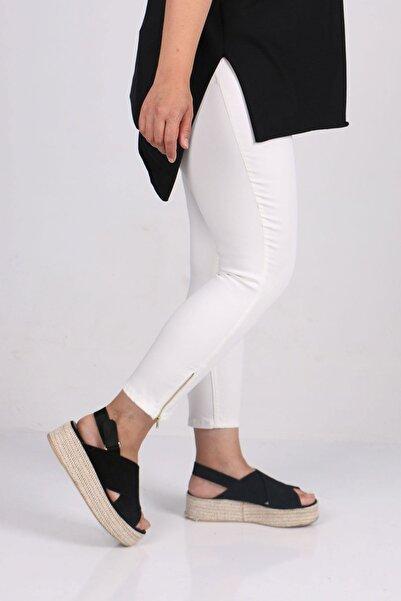 Eslina 9121-1 Büyük Beden Fermuar Detaylı Dar Paça Kot Pantalon-beyaz