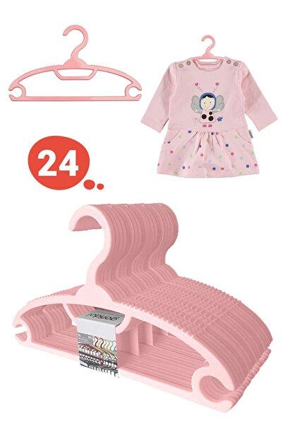 Morpanya Bebek Elbise Askısı Bebek Çocuk Giysi Kıyafet Askısı 24 Adet Gondol Pembe Askı