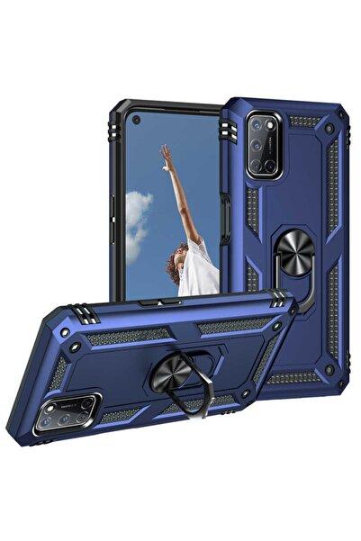 Oppo A72 Uyumlu Yüzüklü (standlı) Nezih Case Zırh Kılıf Mavi