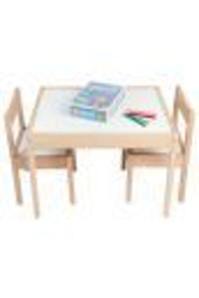 Ahşap Sanat Market Molie Çocuk Ahşap Etkinlik Masası Ve 2 Sandalyeli Set