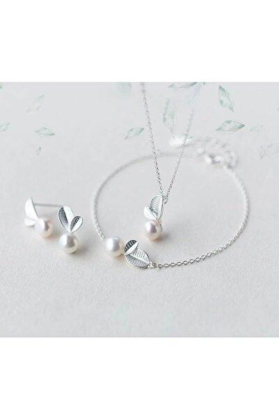 MURASSA BUTİK Incili Yaprak 3'lü Gümüş Set