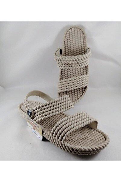 GEZER Kadın  Bej Kaydırmaz Taban Hasır  Masajlı Sandalet Terlik