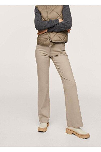 MANGO Woman Kadın Bej Ispanyol Paça Koton Pantolon