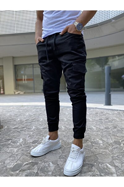 OHEPMODA Erkek Siyah Dar Kesim Beli Ve Paçası Lastikli Kargo Cep Pantolon