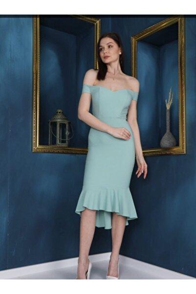 ilayda collection Kadın Turkuaz Gece Elbisesi