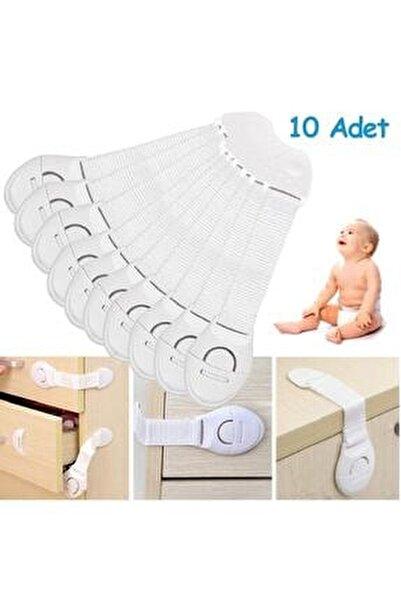 Çocuk Çekmece Ve Dolap Kilidi Bebek Güvenlik Koruma Kilidi 10 Adet