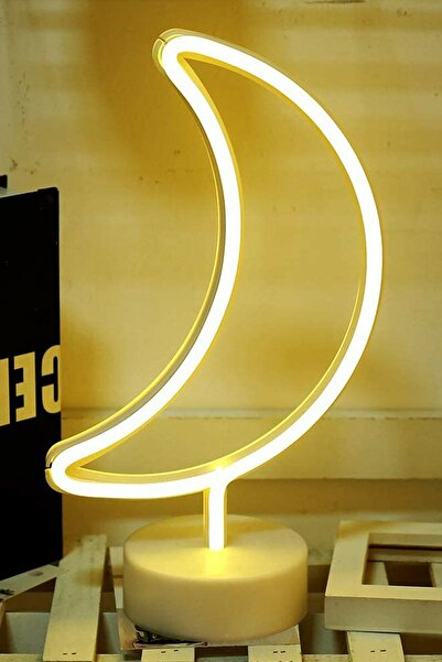 Amasra Dekoratif Ay Tasarımlı Neon Led Masa Ve Gece Lambası