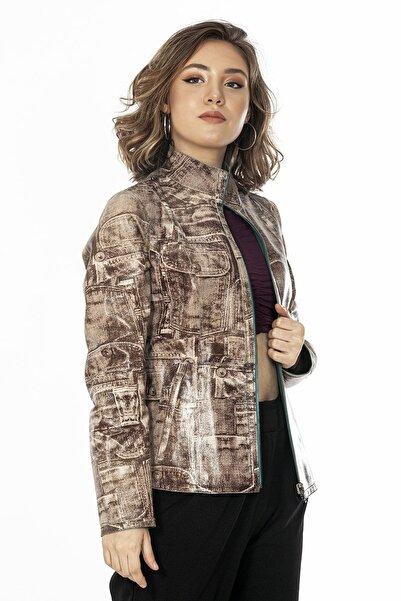 Loris Kot Baskı Kadın Deri Ceket