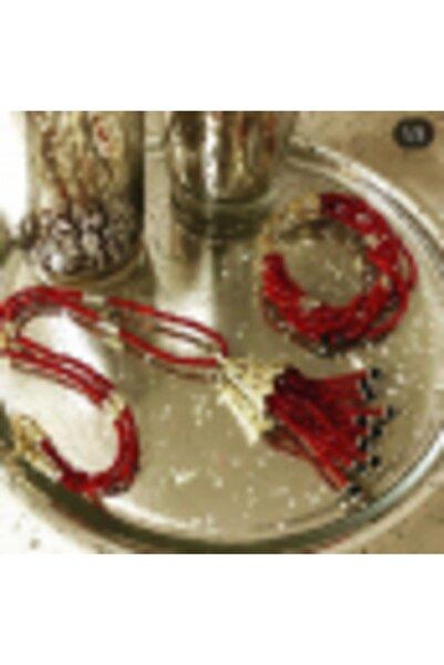 Lotus Kırmızı Kristal Gold Kolye&bileklik