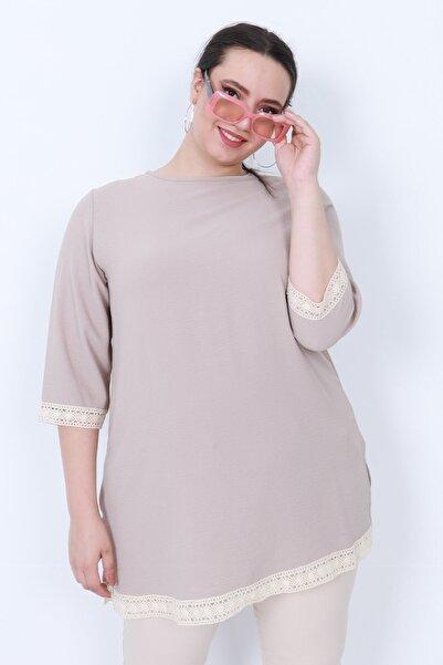 KadoModa Dantel Detaylı Bluz Gri
