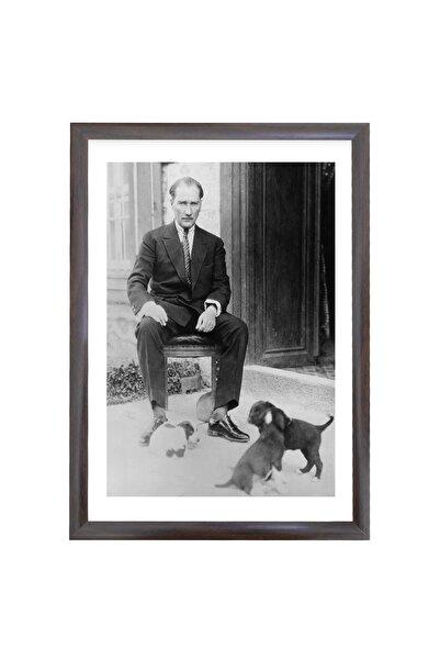 Harita Sepeti Çerçeveli Atatürk Portre Tablosu Mustafa Kemal Atatürk Dikdörtgen Dekoratif Tablo