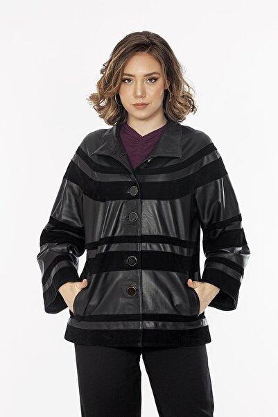 Loris Düğmeli Kadın Deri Ceket