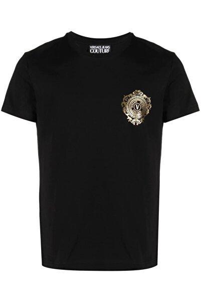 Versace Chest Logo Baskı Siyah T-shirt