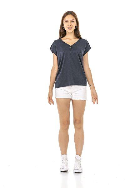 Cadde Cihangir Kadın Kısa Kollu Lacivert Renk Omuz Detaylı V Yaka T-shirt