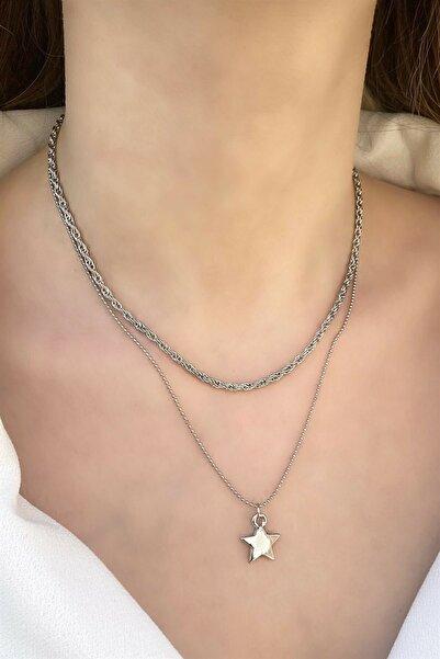 TAKIŞTIR Gümüş Renk Yıldız Figürlü Ikili Zincir Kolye