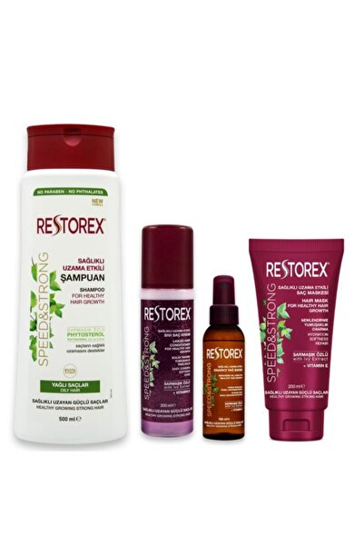 Restorex 3lü Saç Bakım Seti Ve Yağlı Saçlar Için Şampuan 500 ml