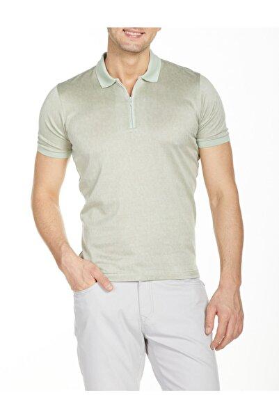 Bisse Ts 20103 Erkek Yeşil Merserize Fermuarlı Kol Bantlı Tshirt
