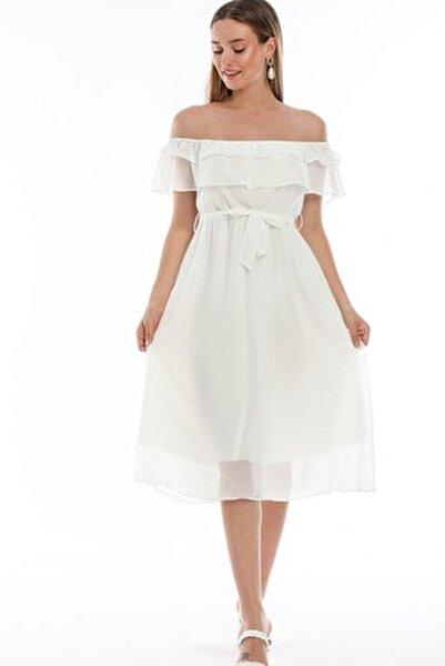 Beyaz Madonna Fırfır Yaka Büyük Beden Elbise
