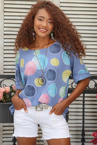 Chiccy Kadın Mavi Italyan Dev Puan Desenli Sıfır Yaka 3/4 Kol Oversize Dokuma Bluz M10010200bl95031
