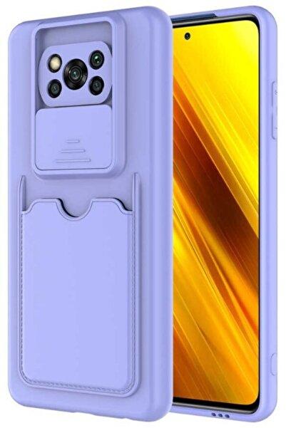 cepsesuar Xiaomi Poco X3 Pro Uyumlu  Kılıf Kartlıklı Kamera Korumalı Holsi