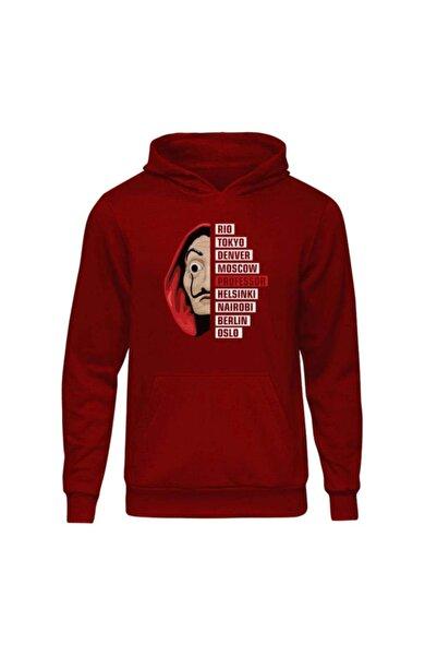 Fandomya Unisex Kırmızı La Casa De Papel Staff Kapüşonlu Hoodie Sweatshirt