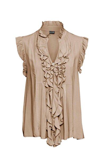 Pikka Online Kadın Büyük Beden Fırfır Detay Gömlek Yaka Vizon Kolsuz Şık Viskon Bluz