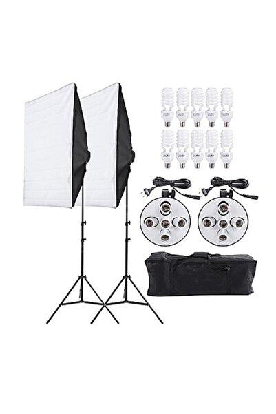 Fototek 5 Duylu Softbox 50x70cm Ikili Sürekli Işık Seti 10 Duy Her Duy Açılıp Kapanabilir Büyük Çantalı