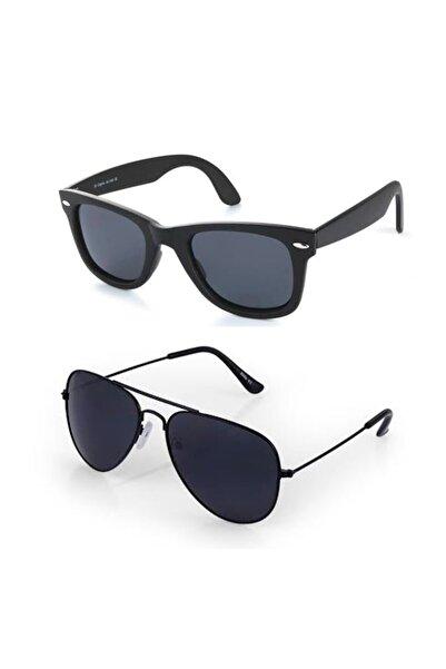 ModaLand İkili Uv 400 Cam Siyah Unisex Güneş Gözlüğü