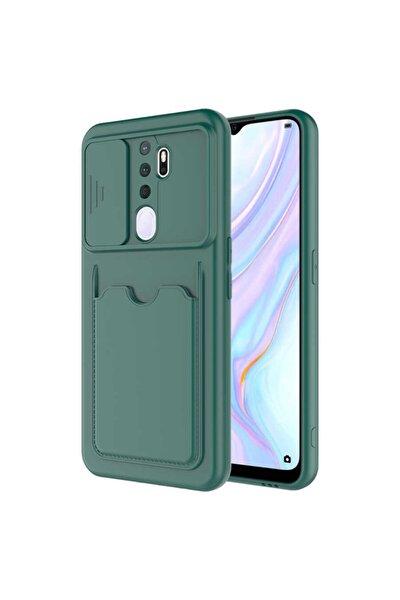 OPPO A5 2020 Nezih Case Cüzdanlı Kamera Kızaklı Silikon Kılıf Koyu Yeşil