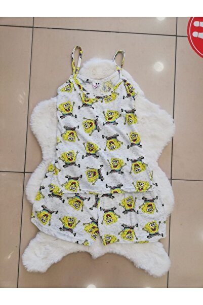 Mickey Mouse Bayan Sünger Bob Desenli Şortlu Pijama Takım