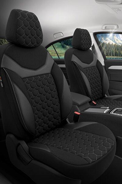 Otom Airbag Dikişli Ortopedik Yüksek Kalite Oto Koltuk Kılıfı Tam Set - Sapphire Design Siyah-gri