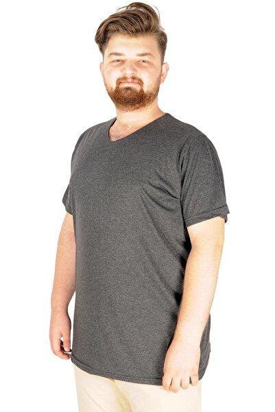 ModeXL Büyük Beden Tshirt V Yaka 20032 Antrasit