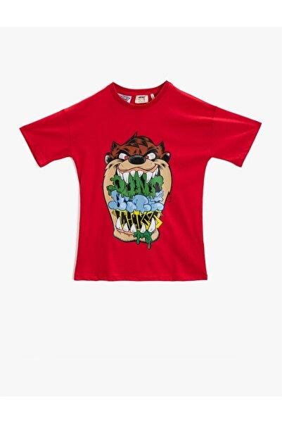 Koton Erkek Çocuk Kırmızı Tazmanya Canavari T-Shirt Lisansli Pamuklu