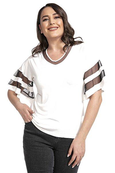Modagusto V Yaka Tül Kol Detaylı Beyaz Bluz