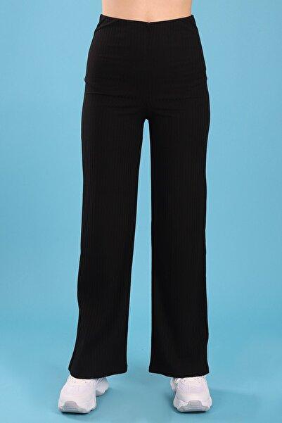Arlin Kadın Kaşkorse Kumaş Yüksek Belli Tam Kalıp Siyah Pantolon