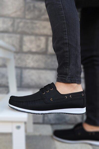 Marsetti Erkek Siyah Beyaz Klasik Casual Loafer Ayakkabı